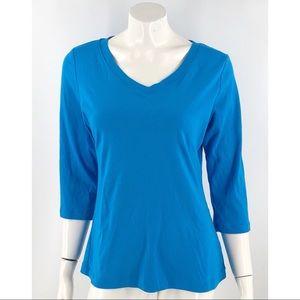 Fashion Bug Top Size XL Blue V Neck Solid Cotton